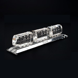 MTR Cute 3-car Crystal Train Model with Crystal Plate Gift Box Set - MTR Passenger Train (2002 - ) Running Line: East Rail Line, Ma On Shan Line and West Rail Line