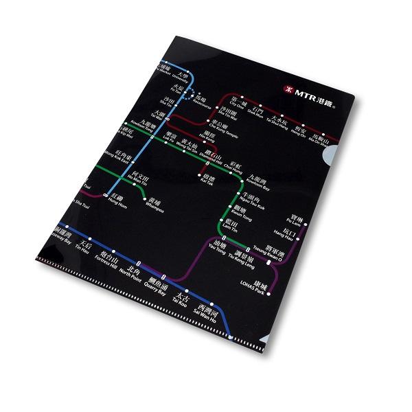 港鐵路綫圖A4文件夾-黑色